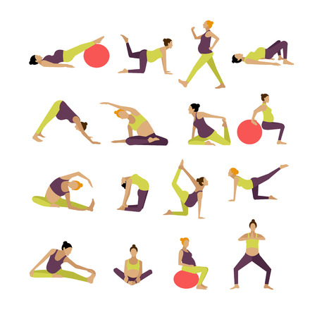 expectant: Vector set of pregnant women are doing exercise and yoga. Design elements and icons isolated on white background.