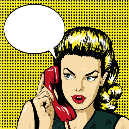 answering phone: Woman talking by phone with speech bubble. Vector illustration in retro comic pop art style.