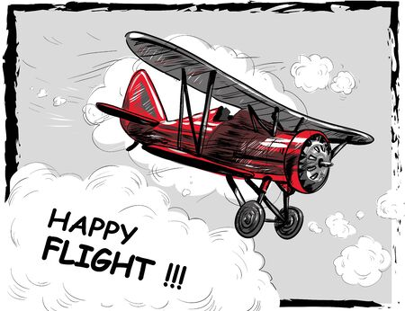 Lets travel concept vector illustration. Retro airplane poster. Old model plane is flying in the sky postcard.