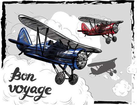 Lets travel concept vector illustration. Retro airplane poster. Old model plane is flying in the sky postcard. Bon Voyage. Illustration
