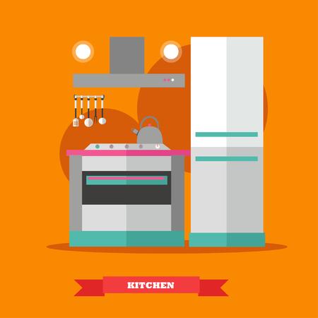 modern kitchen: Modern kitchen interior. Vector illustration in flat style. Room furniture.