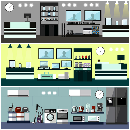wash machine: Consumer electronics store Interior. Colorful vector illustration. Design elements and banners in flat style. Laptop, TV, wash machine, phone.