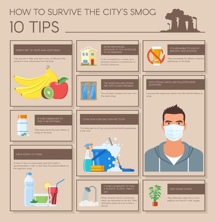 atmosphere: Smog infographic vector illustration. How to survive in city with smog. Design elements and icons in flat style. Pollutions and ecology risk concept.