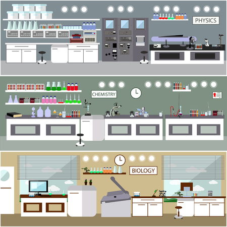 chemistry lab: Laboratory vector illustration. Science lab interior. Biology, Physics and Chemistry education concept. Scientific equipment and tools. Illustration