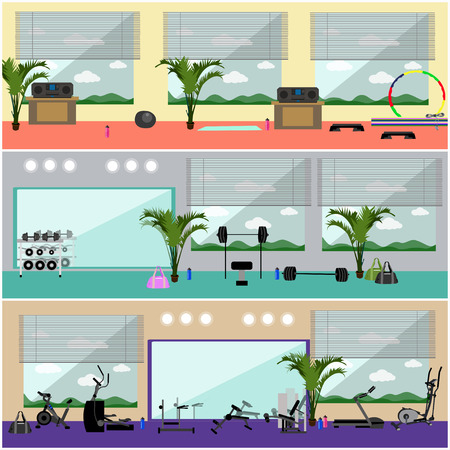 gym room: Fitness center interior vector illustration. Work out in gym horizontal banners. Sport activities concept. Yoga, fitness, gym.