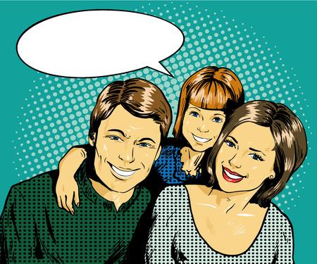Familia feliz con el niño. Ilustración del vector en estilo del arte pop cómico retro. Concepto de familia. Ilustración de vector