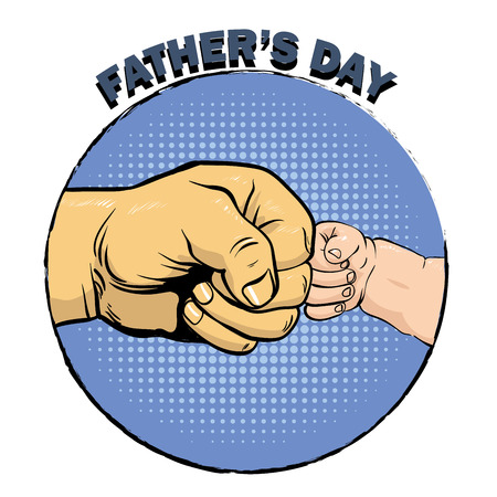 bump: Happy fathers day poster in retro comic style. Pop art vector illustration. Father and son fist bump.
