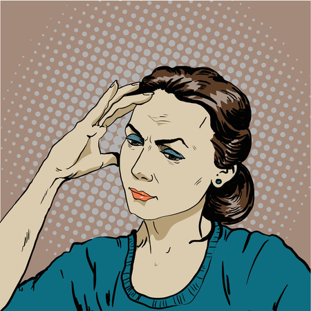 concussion: Woman in stress has headache. Vector illustration in pop art retro comic style. Thinking woman.