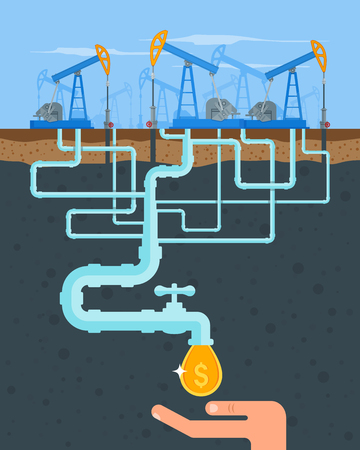 oil and gas industry: Transform oil to money concept. Get cash from oil pipe. Black gold. Oil pumps. Vector illustration in flat style. Oil and gas industry.