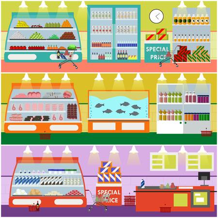 ilustración vectorial entre supermercado en estilo plano. artículos de productos en tienda de alimentos. Productos alimenticios y alimentos en los estantes.