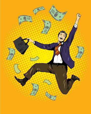 dinero volando: Baile del hombre con el dinero volando alrededor. Ilustración del vector en estilo del arte pop cómico retro. Concepto de negocio y el éxito financiero. Vectores