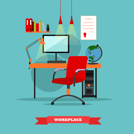 home office interior: Workplace interior. Work at home concept vector illustration in flat style. Home office workplace.