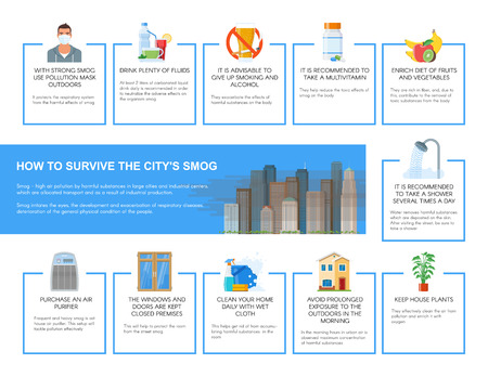 survive: Smog infographic vector illustration. How to survive in city with smog. Design elements and icons in flat style. Pollutions and ecology risk concept.