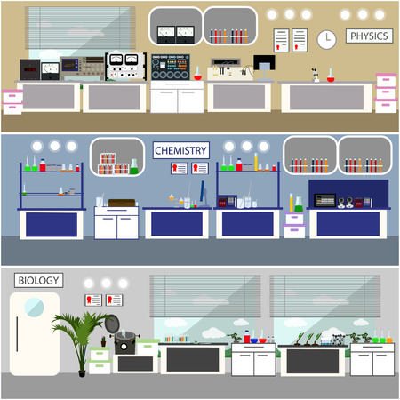science scientific: Laboratory vector illustration. Science lab interior. Biology, Physics and Chemistry education concept. Scientific equipment and tools. Illustration