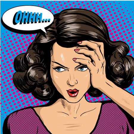 Woman in pop art retro comic style. Woman Oh emotional reaction speech bubble.