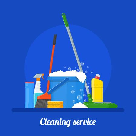 whisk broom: Cleaning service company concept vector illustration. House Cleaning tools poster design in flat style.