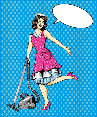 vacuuming: Woman vacuuming floor in house. Cleaning service concept vector illustration in retro comic pop art style.