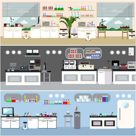 scientific equipment: Laboratory vector illustration. Science lab interior. Biology, Physics and Chemistry education concept. Scientific equipment and tools. Illustration