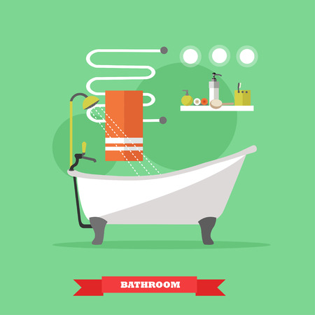 heated: Bathroom interior with furniture. Vector illustration in flat style. Design elements, bathtub, shelves, heated towel rail. Illustration