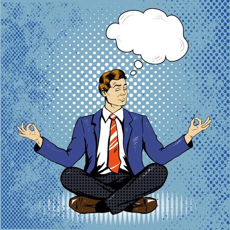 man meditating: Meditating man with speech bubble in retro pop art comic style. Mental balance and yoga concept.