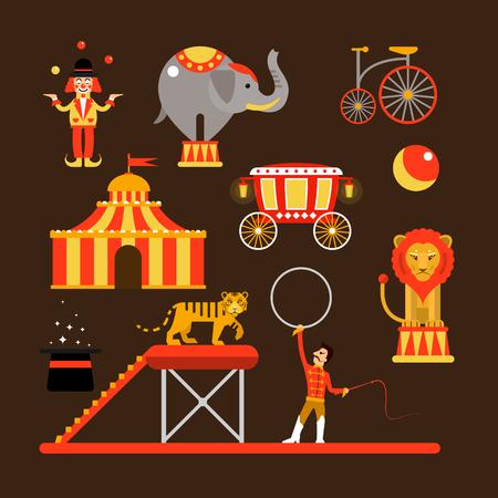Vector Reihe von Zirkuskünstler, Akrobaten und isoliert auf weißem Hintergrund Tiere. Circus zeigen Symbole und Design-Elemente.