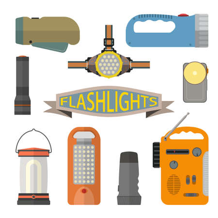 flashlights: Vector set of flashlights in flat style. Design elements and icons isolated on white background. Headlight, hand lamp, torch.