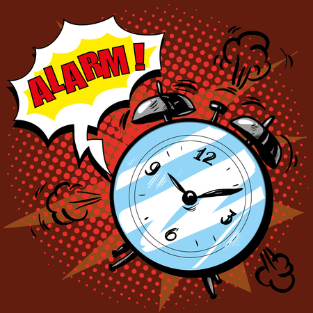 Alarm clock rings to wake up in the morning. Vector illustration in retro comic pop art style. Alarm text bubble. Good morning concept. Illustration