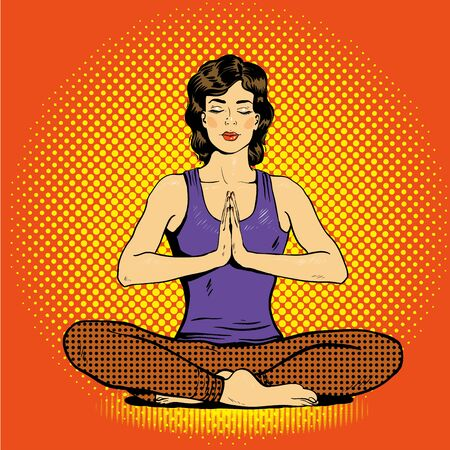 meditating woman: Meditating woman with speech bubble in retro pop art comic style. Mental balance and yoga concept.