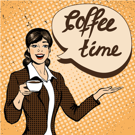 Beautiful woman drinks coffee vector illustration in retro comic pop art style. Coffee time concept poster.
