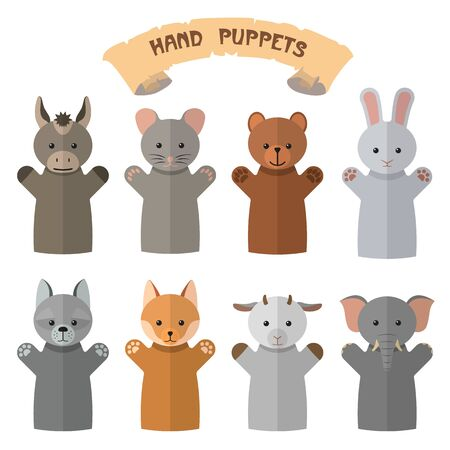 glove puppet: Vector set of hand puppets in flat style. Design elements and icons isolated on white background. Doll gloves with different animals.