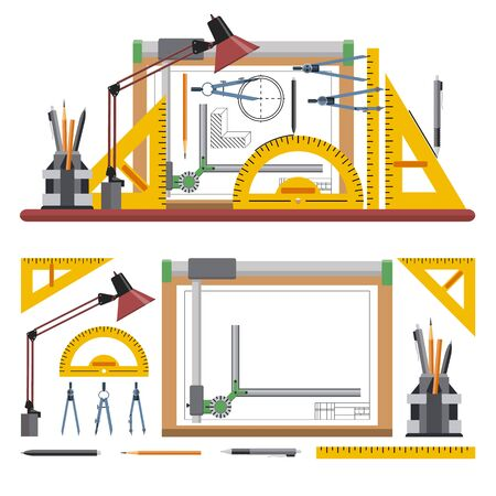 drawing board: Architects and designer workplace vector illustration in flat style. Drawing tools and instruments isolated on white background. Drawing board.
