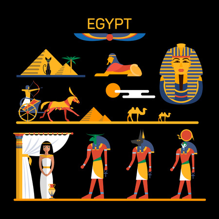egypt anubis: Vector set of Egypt characters with pharaoh, gods, pyramids, camels. Illustration with Egypt isolated objects. Illustration