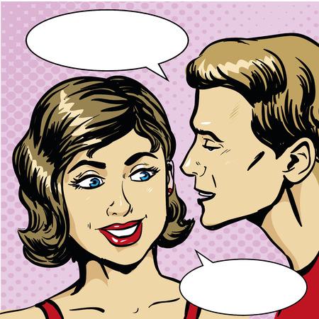 gossiping: Pop art retro comic vector illustration. Man whispering gossip or secret to woman. Speech bubble. Illustration