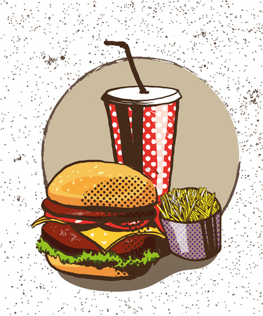 soda pop: Fast food poster in retro pop art style. Vector comic illustration. Concept graphic background with burger, fries and soda.