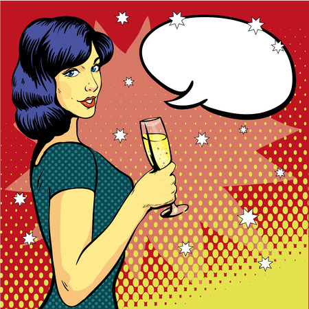 woman drinking wine: Woman with wine glass in pop art retro style. Comic vector illustration, girl with speech bubble. Beautiful woman drinking wine from a glass. Party celebration.