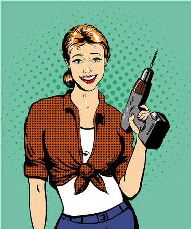 power tools: Woman with drill vector illustration in retro comic pop art style. Girl with hardware power tools.