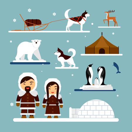 esquimales: Vector conjunto de caracteres esquimal con la casa iglú, perro, oso blanco y pingüinos. Personas en el traje tradicional y esquimales animales del Ártico. Foto de archivo