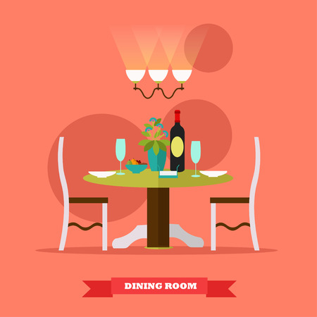 dining room: Dining room interior. Vector illustration in flat style. Table with wine and glasses in restaurant. Illustration