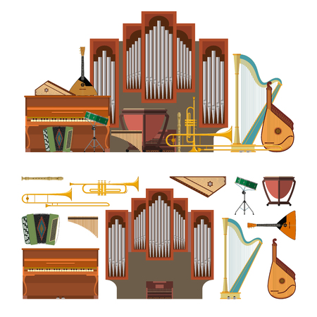graphic icon: Vector set of musical instruments in flat style. Design elements and music icons isolated on white background.