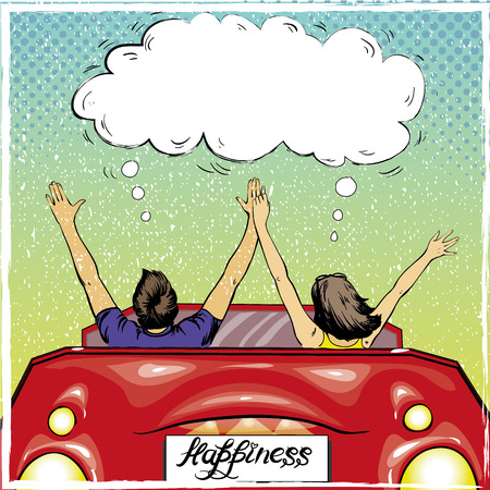 married couples: Happy couple in a car driving away. Vector illustration in retro pop art style. Love romance concept.