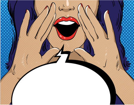 woman mouth open: Woman with speech bubble in retro pop art style. Girl screaming template comic vector illustration. Face with open mouth.