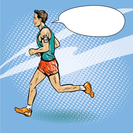 Sportsman running concept vector illustration in retro comic pop art style. Man athlete run marathon.