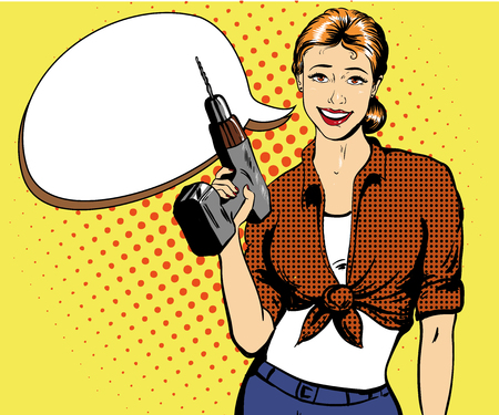 power tools: Woman with drill vector illustration in retro comic pop art style. Girl with hardware power tools. Woman with speech bubble.