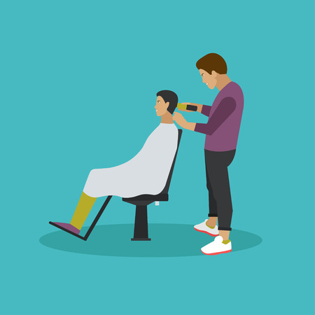 male grooming: Barbershop concept vector illustration in flat style. Hair salon design elements and icons. Barber shop and hair cut for man.