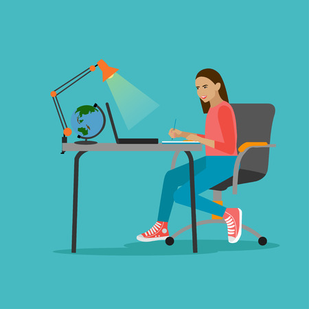 laptop home: Online education concept. Vector illustration in flat style. Laptop on a table. Female student studying on internet and learning writing notes in a desk at home.