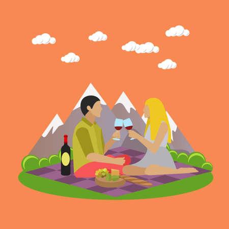 ricreazione: Illustrazione vettoriale di ricreazione estiva elementi di concetto di design. etichette dei cartoni animati. picnic in famiglia e campeggio in un parco icone piane. Archivio Fotografico