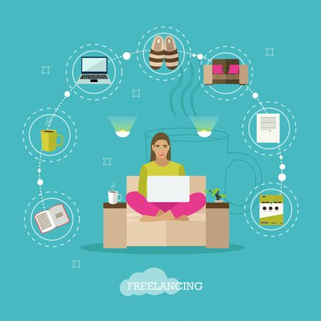 freelancer: Female freelancer working remotely from her room. Freelance concept vector illustration in flat style.