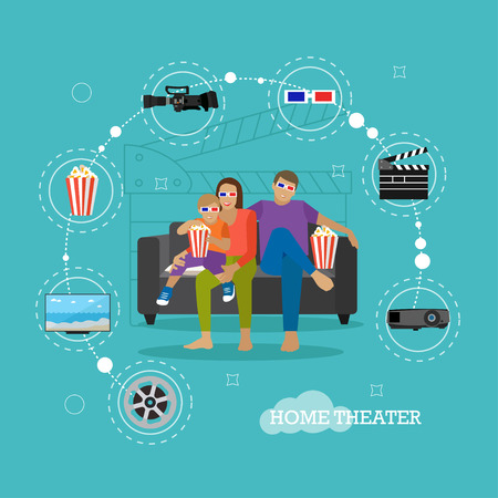 family eating: Family eating popcorn and watching movie in home theater. Cinema concept vector illustration in flat style. Movie at home.