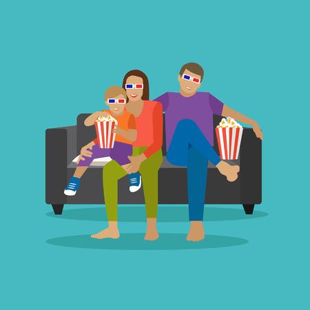 Familie essen Popcorn und Film in Heimkino zu beobachten. Cinema-Konzept Vektor-Illustration in flachen Stil. Film zu Hause. Vektorgrafik