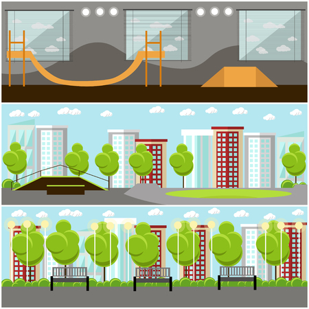 skate park: Vector set of skate park banners. Outdoor and indoor parks with ramp for skaters and rollers.